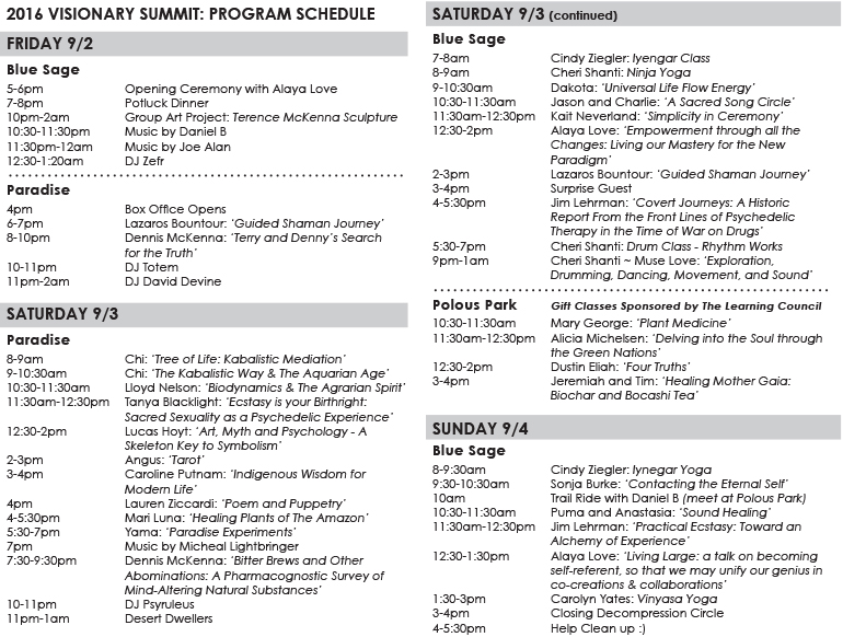 2016 Visionary Summit schedule image