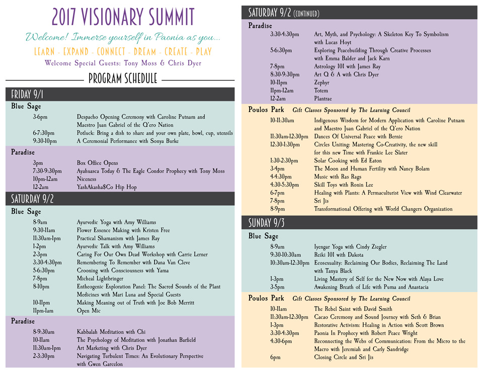 Picture of Visionary Summit schedule