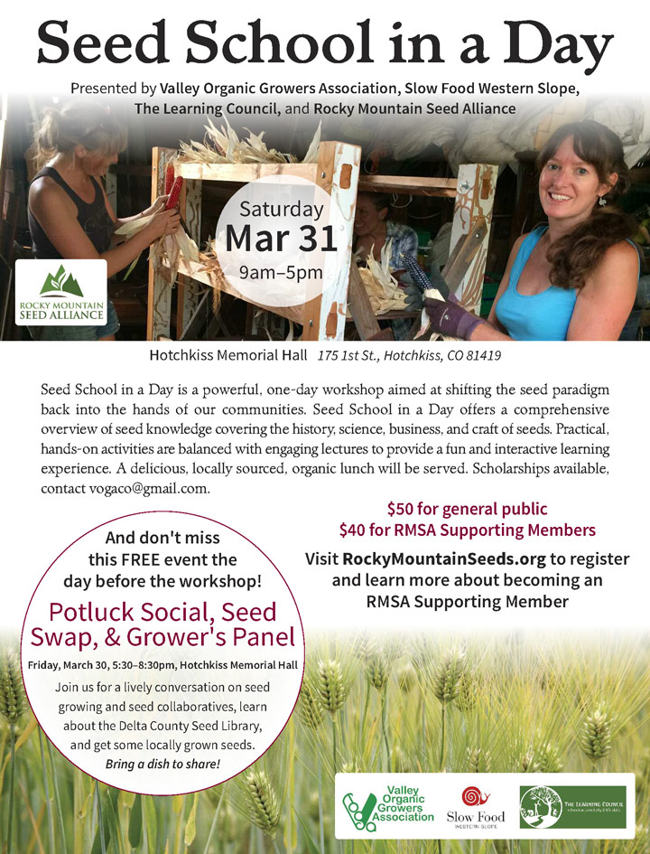 Seed School in a Day poster
