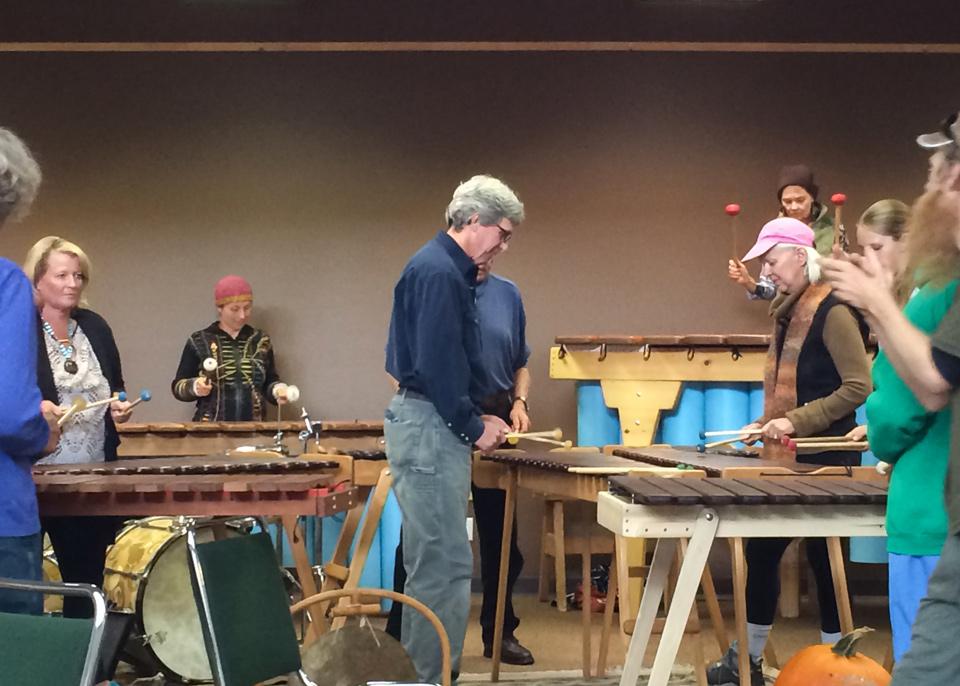 Marimba ensemble playing photo