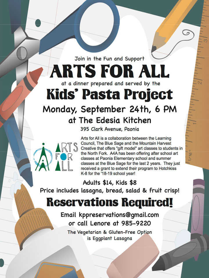 Arts for All Kids Pasta Project poster