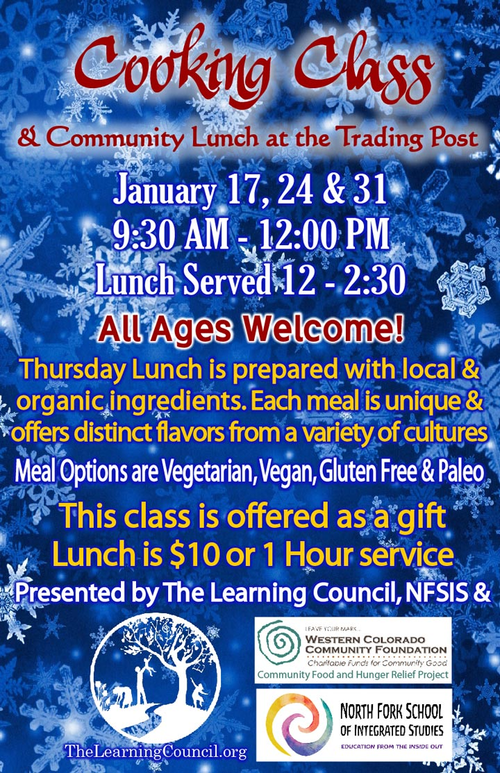 January Cooking Class poster