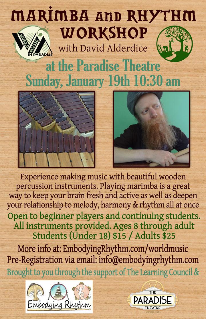 Marimba and Rhythm Workshop poster