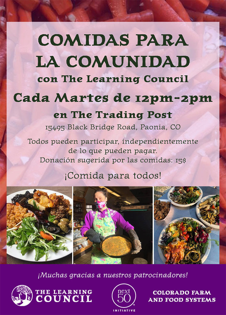 Community Meals poster in Spanish